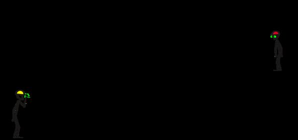 """Visada de um espeleólogo ao outro. Notem que a """"estação topográfica"""" é considerado como um ponto suspenso no ar (triângulo verde)"""