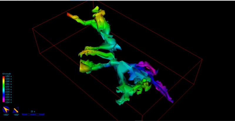 Vista isométrica desde SE da Gruta das Casas, após a correção e a inserção de radiações pelo TOPGRU