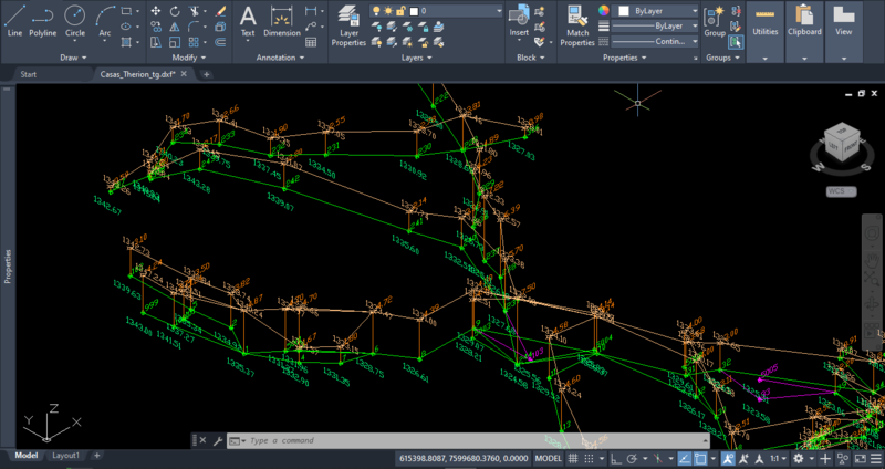 Exemplo de plotagem em CAD, vista isométrica desde SW